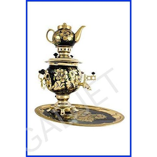 """Samovar electric 3 liters""""Round"""" in the set""""The Rooster on the Gold"""" hand-painting"""