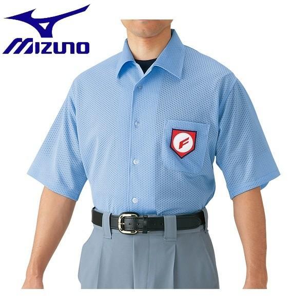 ◆◆ <ミズノ> MIZUNO 高校野球/ボーイズリーグ審判員用 半袖シャツ(ノーフォーク型) 52HU2418 (パウダーブルー)