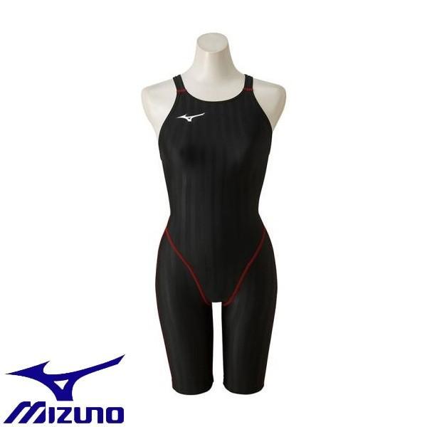 ◆◆ <ミズノ> MIZUNO 競泳用ハーフスーツ[ジュニア] N2MG8421 (96:ブラック×レッド)