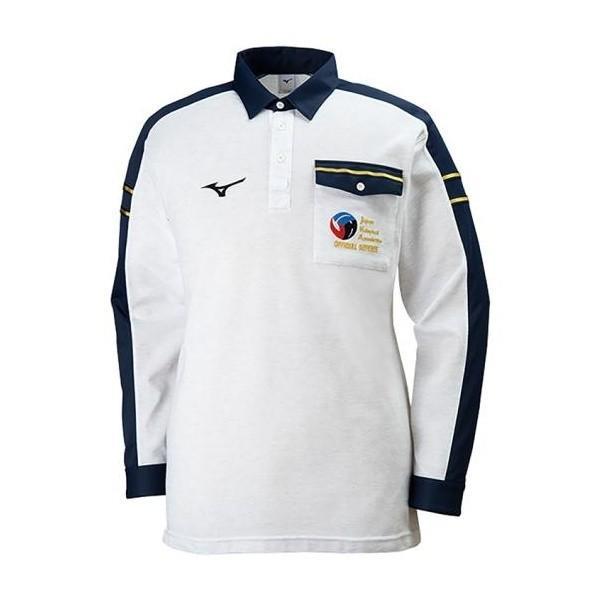 ◆◆ <ミズノ> MIZUNO レフェリーシャツ(長袖)[ユニセックス] V2JC8061 (03:ホワイト杢×ネイビー)