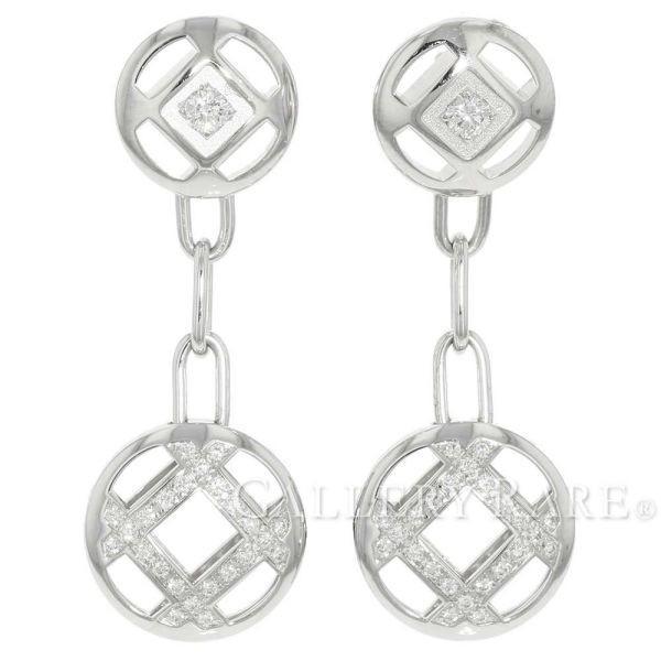 お気に入りの カルティエ ピアス グリッド ダイヤモンド K18WG Cartier ジュエリー, ヒガシクルメシ e6ebe99e