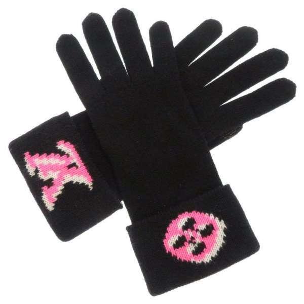 ルイヴィトン グローブ モノグラム ゴン·3D モノグラムグローブ M76451 LOUIS VUITTON 手袋 黒 レディース