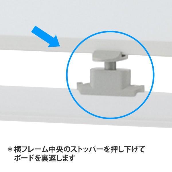 ホワイトボード 1200×900 両面 キャスター付(ストッパー4個) 回転式 ホワイト SHWB-1290BSWH2L【事業所様お届け 限定商品】|garage-murabi|02