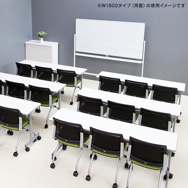 ホワイトボード 1200×900 両面 キャスター付(ストッパー4個) 回転式 ホワイト SHWB-1290BSWH2L【事業所様お届け 限定商品】|garage-murabi|05