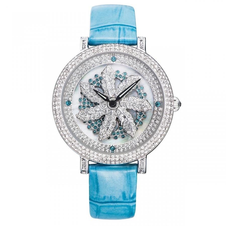 見事な 腕時計スワロフスキー モチーフが回転 Davena ダヴェナ MAPLE メープル ブルー MAPLE/シルバー, MAP-S:091ccc9e --- sonpurmela.online