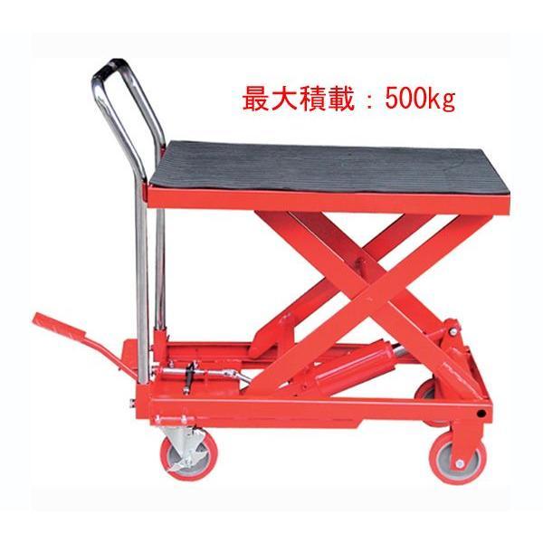 赤 油圧式リフトテーブル リフター台車に 耐荷重500kg F007|Yahoo!ショッピング