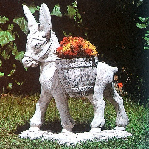 イタリア製 石像 プランター ロバと花かご