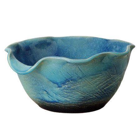 信楽焼 睡蓮鉢 ブルーガラス花型水鉢 50cm (SG-SA99-2)