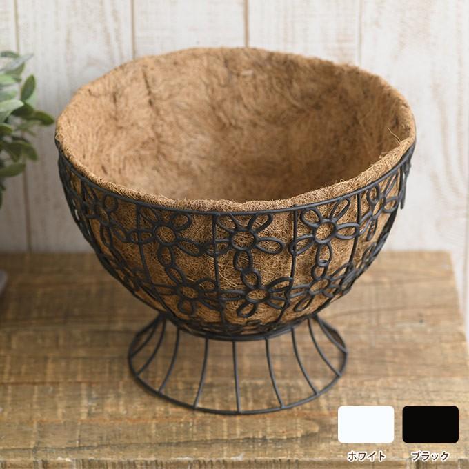 ココヤシプランター ラウンドカップ ※ココヤシマット付き プランター アイアン 自然 鉢 植物 フラワーバスケット|gardenyouhin