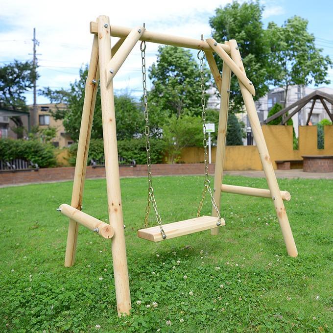 木製 屋外 ブランコ 丸太 一人用 白木 天然木 無垢 木製ブランコ ...