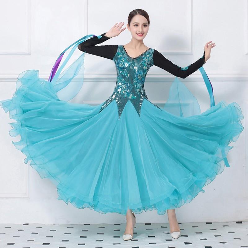 Garuda SHOP 社交ダンスドレス 高級モダンドレス サイズ調整可 発表会演出服ラテンワルツドレス 素敵水色 モダン