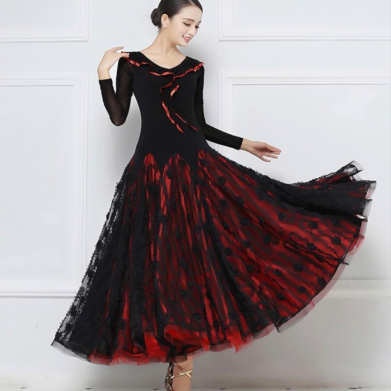 Garuda SHOP 社交ダンス衣装 レディースモダンドレス サイズ調整可 発表会演出服ラテンワルツドレス 優しいデザイン