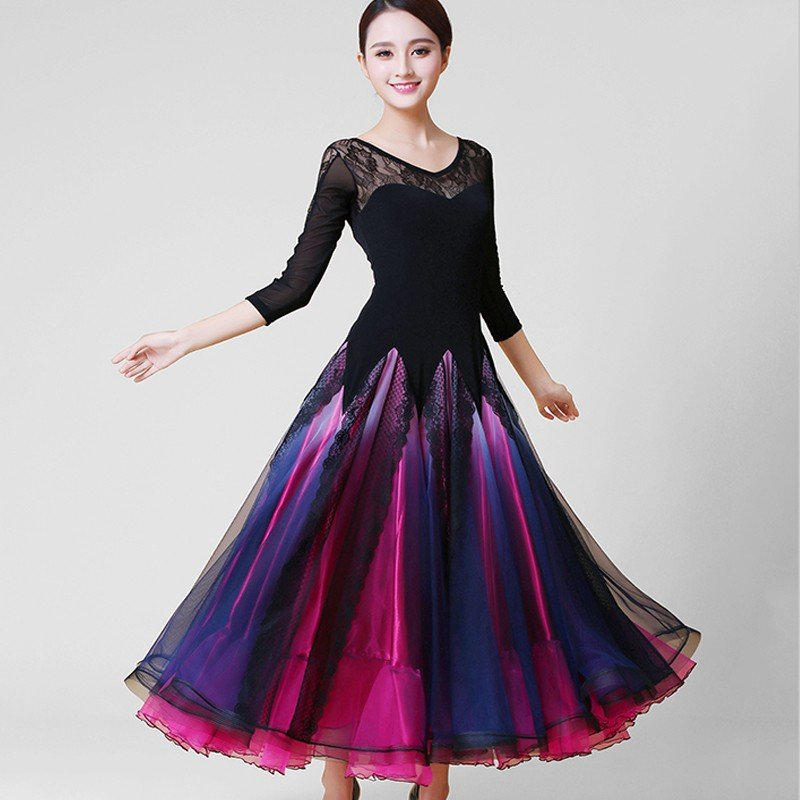 Garuda SHOP 社交ダンス衣装 女性モダンドレス サイズ調整可 発表会ワルツドレス レース飾 素敵ダンスワンピース 2色