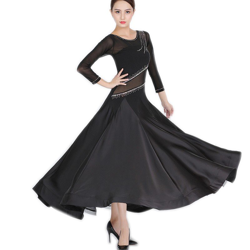 Garuda SHOP 社交ダンス衣装 レディースモダンドレス サイズ調整可 発表会ワルツドレス 高級品 ブラック 社交ダンス