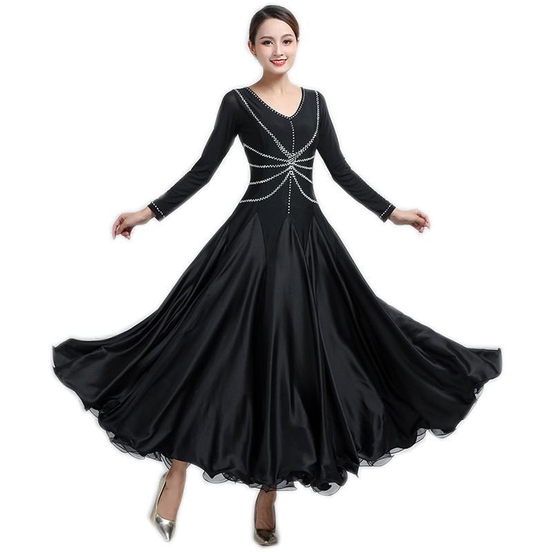 Garuda SHOP 社交ダンス衣装 女性モダンドレス サイズ調整可 発表会演出服ラテンワルツドレス 高級品モダンデザイン 黒色