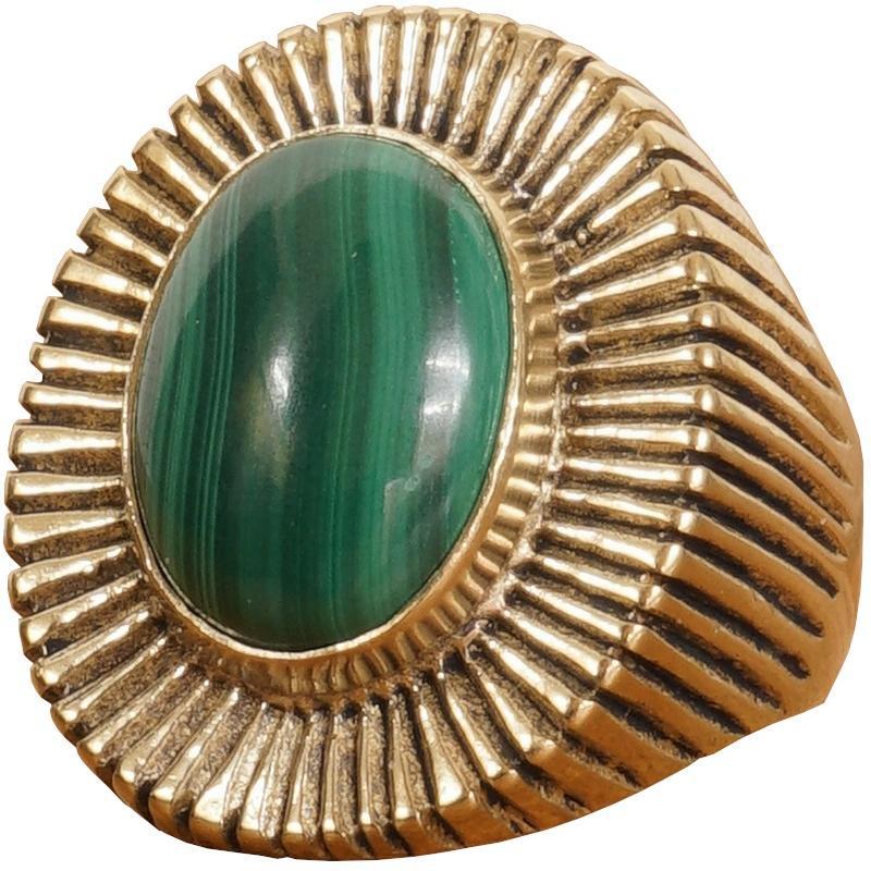 気質アップ LHN Jewelry(エルエイチエヌ ジュエリー) 米国製 ハンドメイド Byron リング 真鍮 x マラカイト メンズ ユニセックス Brass Malachite ring, エアコン本舗 783fd4d6