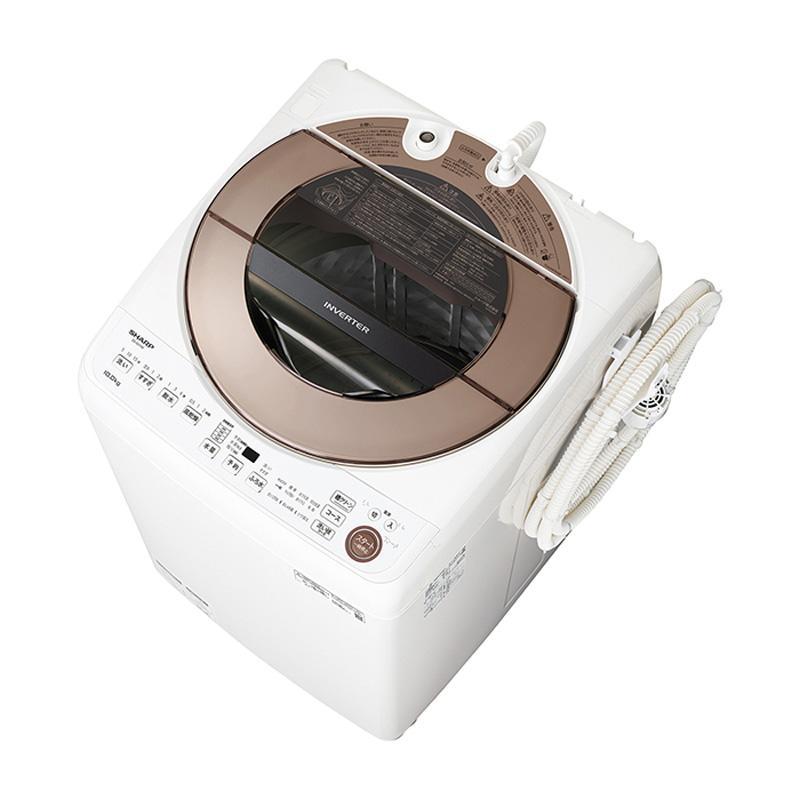 シャープ SHARP 全自動洗濯機 使い勝手の良い 10.0kg ES-GV10E-T 25%OFF インバーター搭載 穴なし槽 ブラウン