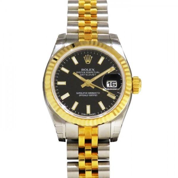 定番  ロレックス デイトジャスト 179173 ブラック文字盤 レディース 腕時計 新品, トネグン 11e61941