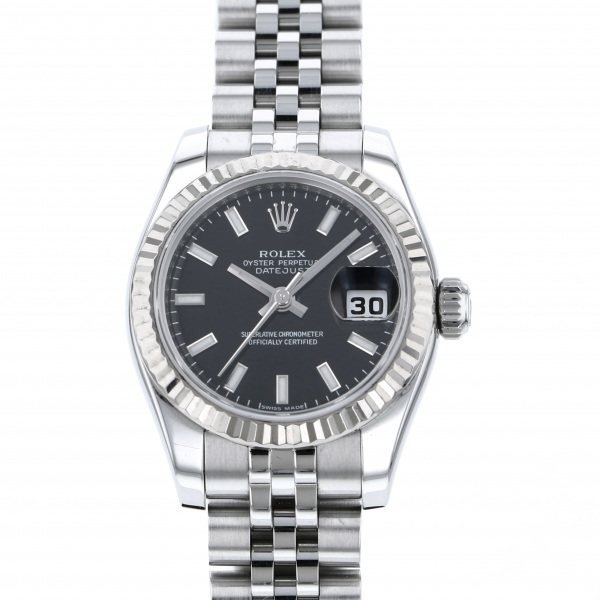 【オープニングセール】 ロレックス デイトジャスト 179174 ブラック文字盤 レディース 腕時計, ゴルフライン df03f097