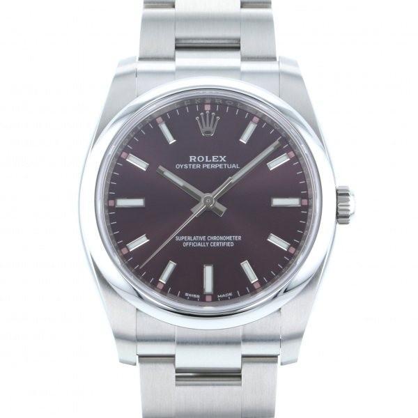 人気満点 ロレックス オイスターパーペチュアル 114200 レッドグレープ文字盤 メンズ 腕時計 新品, さくらソレイユ b8c75c79