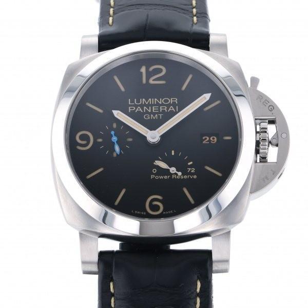 爆売り! パネライ ルミノール 3デイズGMT パワーリザーブ アッチャイオ PAM01321 ブラック文字盤 メンズ 腕時計 新品, 成城石井 ad53541c