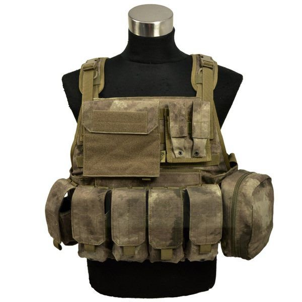 FLYYE MOLLE Style PC Plate Carrier with Pouch set A-TACS 迷彩