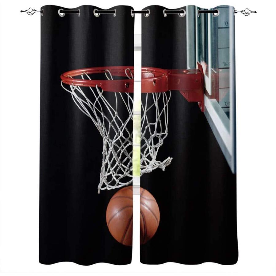 ウィンドウカーテン バスケットボールとフープ ホームデコ ドレープ パネル2枚セット リビングルーム 寝室用 ブラック背景 27.5×39×2 40'