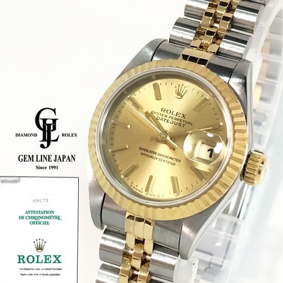 ファッション ギャラ付 ロレックス デイトジャスト 69173 W番 YG/SS コンビモデル レディース 自動巻き 腕時計, 小浜市 11303fcd