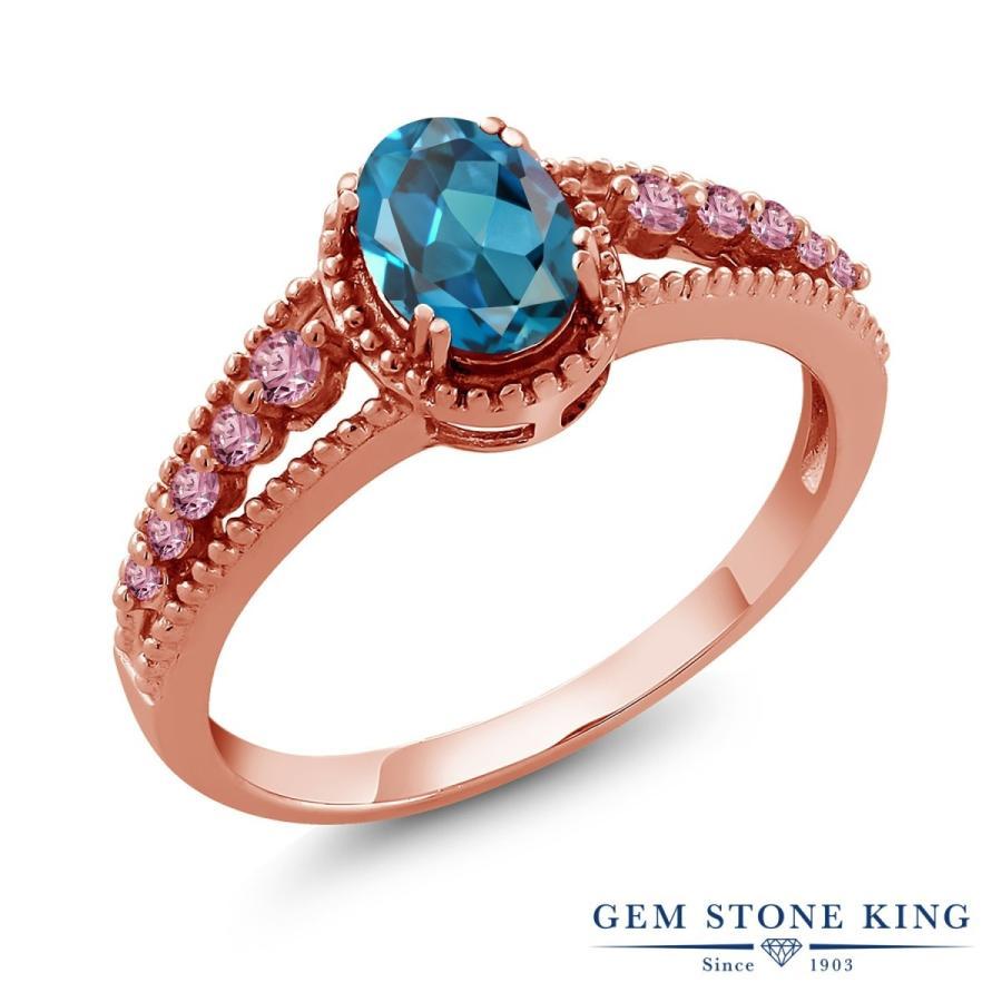 有名ブランド 天然 ロンドンブルートパーズ 指輪 レディース リング 合成ピンクダイヤモンド ピンクゴールド 加工 大粒 天然石 11月 誕生石 プレゼント 女性 嫁, おもちのきもち d28b0176