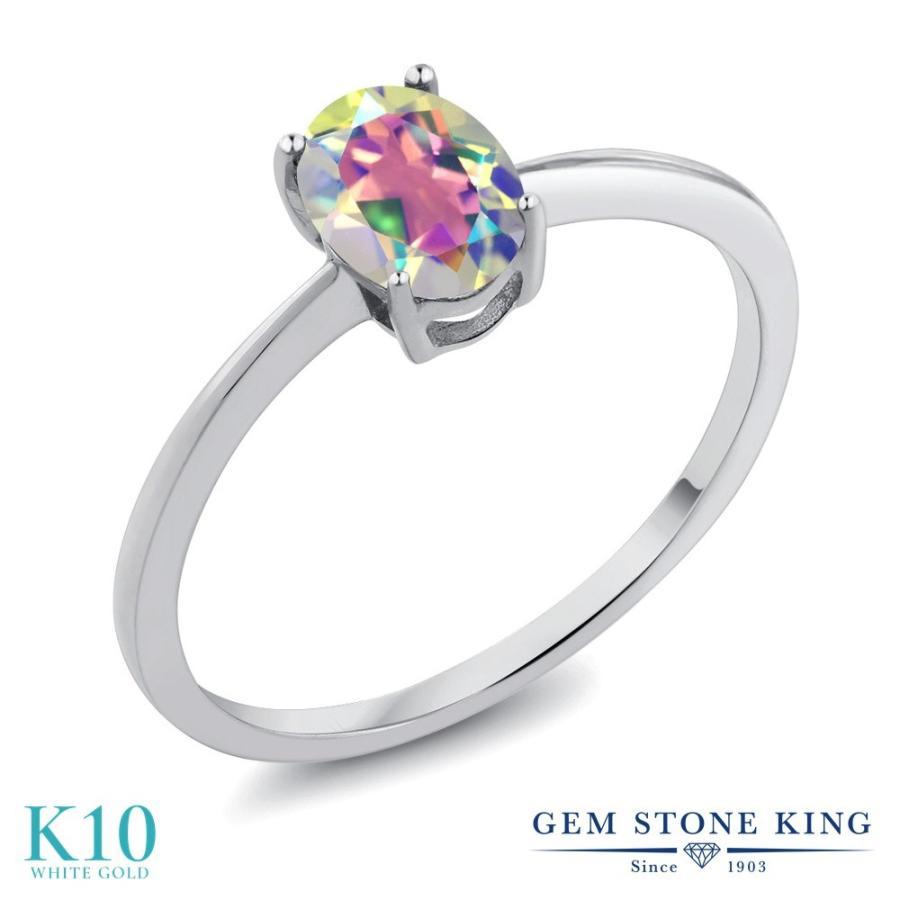 独特の上品 天然石 ミスティックトパーズ (マーキュリーミスト) 指輪 レディース リング 10金 ホワイトゴールド 一粒 プレゼント 女性 嫁 誕生日, Blue Dragon 9e35f954