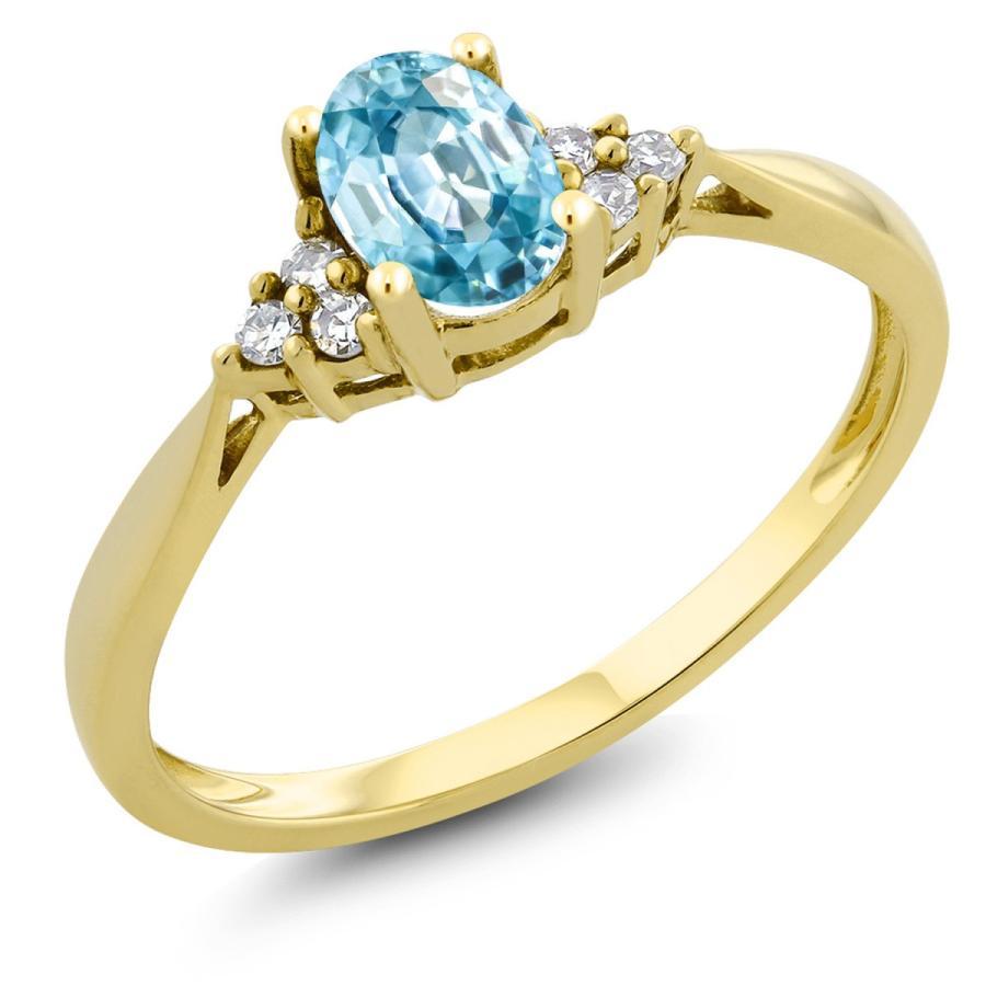 春新作の 天然石 ブルージルコン 指輪 レディース リング 天然 ダイヤモンド 14金 イエローゴールド 12月 誕生石 プレゼント 女性 嫁 誕生日, エニタイム d047387b