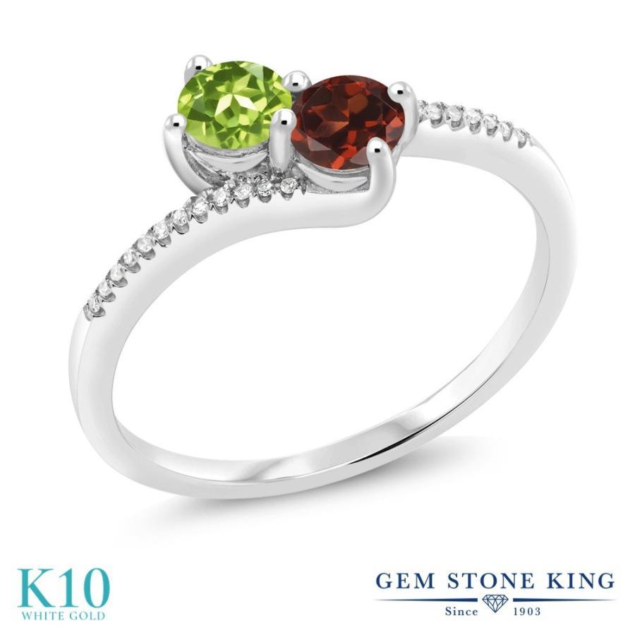 【感謝価格】 天然石 ペリドット 指輪 レディース リング 天然 ガーネット ダイヤモンド 10金 ホワイトゴールド 8月 誕生石 プレゼント 女性 嫁 誕生日, ホビーマンズ a8d1131a