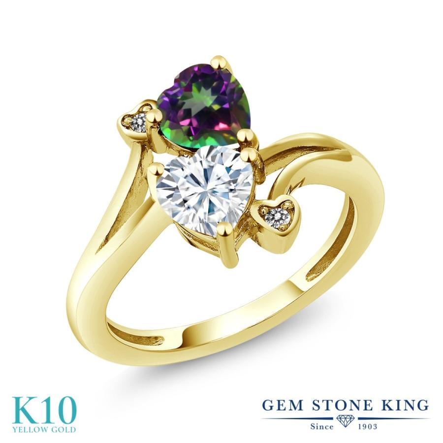 【セール】 Forever Brilliant モアサナイト 指輪 レディース リング 天然石 ミスティックトパーズ (グリーン) 天然 ダイヤモンド 10金 イエローゴールド, なえ屋 2f654c15