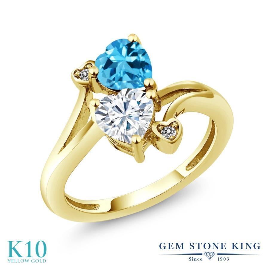 【ふるさと割】 Forever Brilliant モアサナイト 指輪 レディース リング 天然 スイスブルートパーズ ダイヤモンド 10金 イエローゴールド プレゼント 女性 嫁 誕生日, Hem ヘム on line SHOP f1fe3454