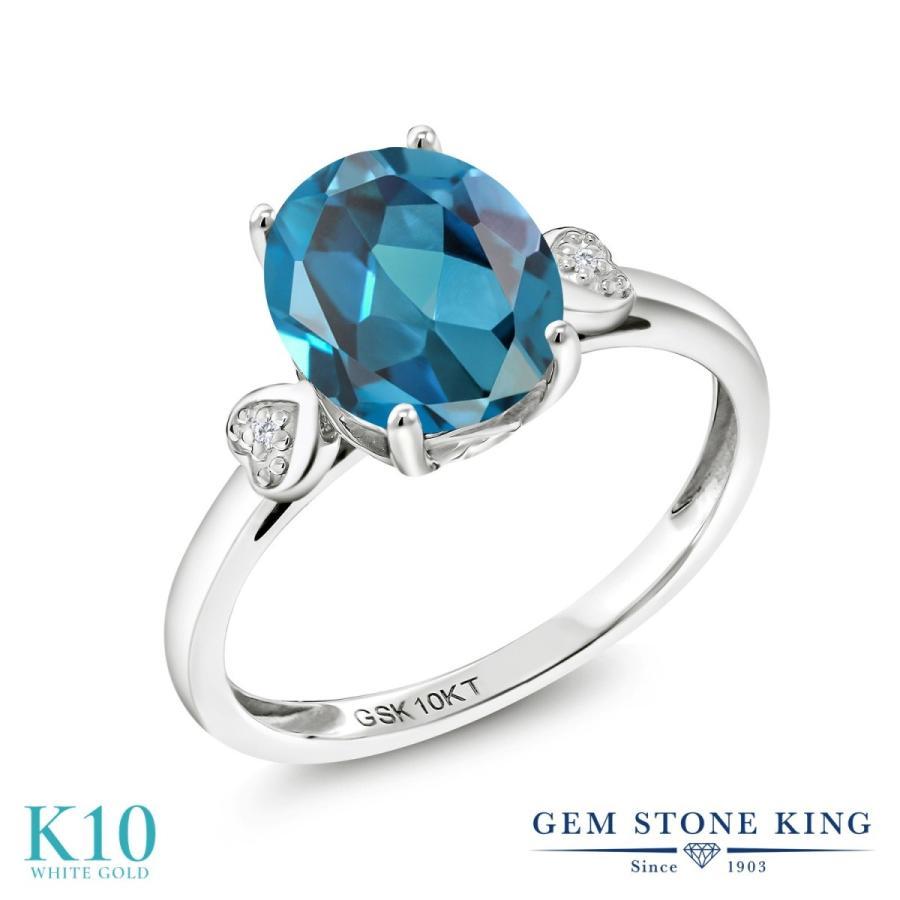 高質で安価 天然 ロンドンブルートパーズ 指輪 レディース リング ダイヤモンド 10金 ホワイトゴールド 大粒 天然石 11月 誕生石 プレゼント 女性 嫁 誕生日, MODE KAORU 0e13fdee