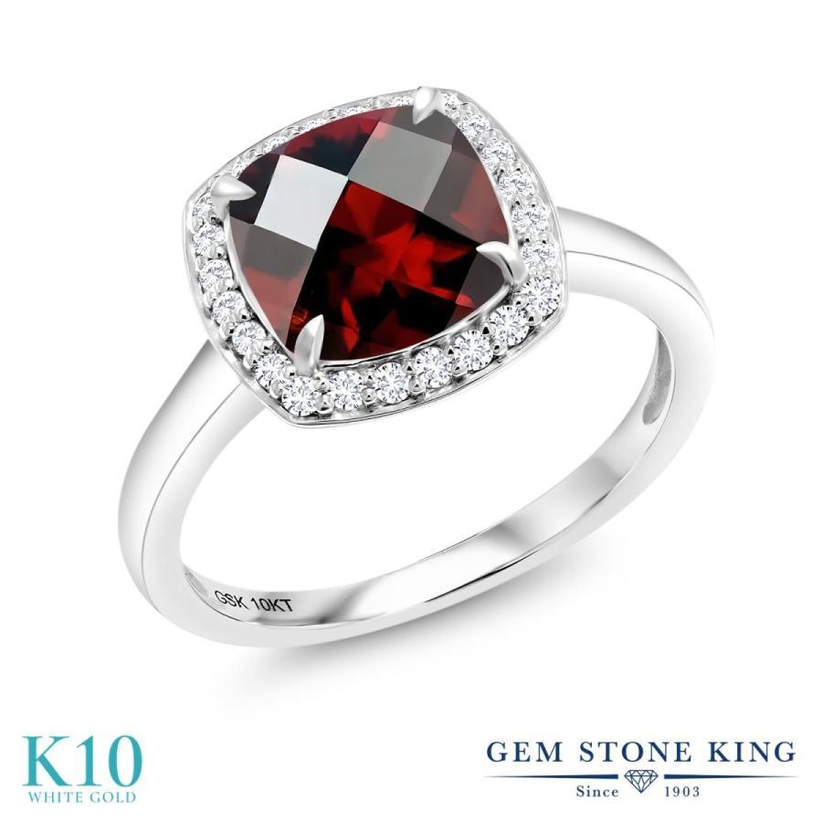 人気ブランド 天然 ガーネット 指輪 レディース リング 合成ダイヤモンド 10金 ホワイトゴールド 大粒 天然石 1月 誕生石 婚約指輪, んまーいmon屋 95fbcc53