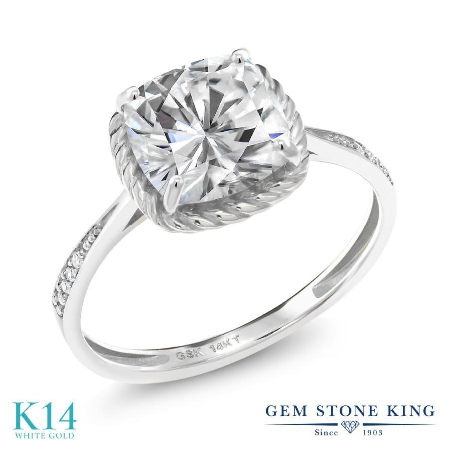 上品な Forever One GHI モアサナイト 指輪 レディース リング 天然 ダイヤモンド 14金 ホワイトゴールド 大粒 婚約指輪, ブランドピースLUXURY 794cc424