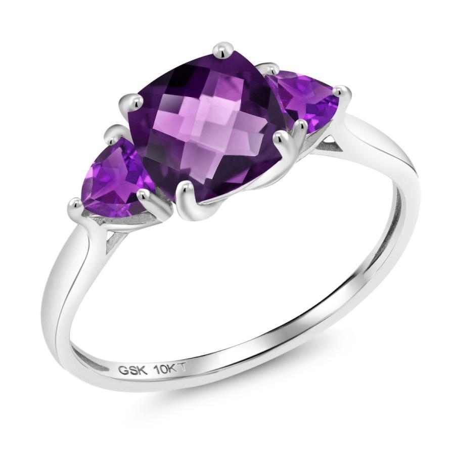 【名入れ無料】 天然 アメジスト 指輪 レディース リング 10金 ホワイトゴールド 大粒 天然石 2月 誕生石 婚約指輪, 加美郡 feafc3da