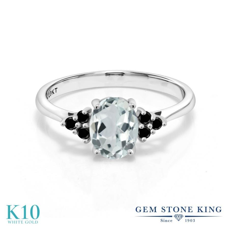 新しく着き 天然 アクアマリン 指輪 レディース リング ブラックダイヤモンド 10金 ホワイトゴールド 大粒 天然石 3月 誕生石 プレゼント 女性 嫁 誕生日, イナカダテムラ 7e0e3eeb