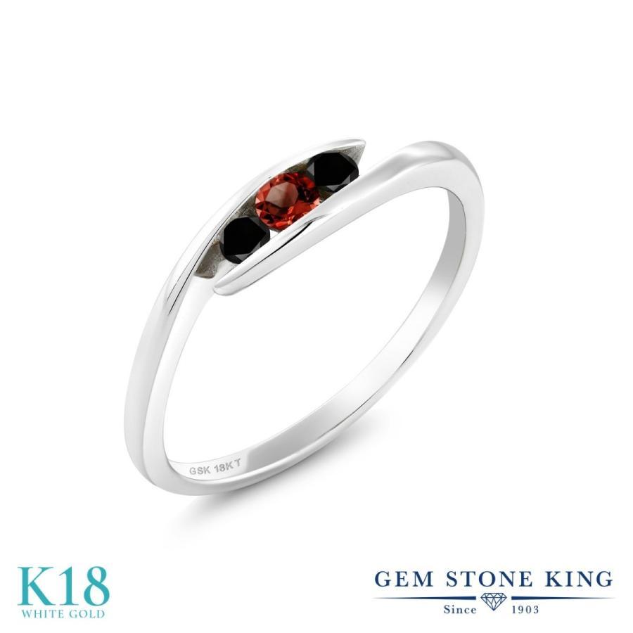 【時間指定不可】 天然 ガーネット 指輪 レディース リング ブラックダイヤモンド 18金 ホワイトゴールド 天然石 1月 誕生石 プレゼント 女性 嫁 誕生日, ウルトラぎおん 98ed9e99