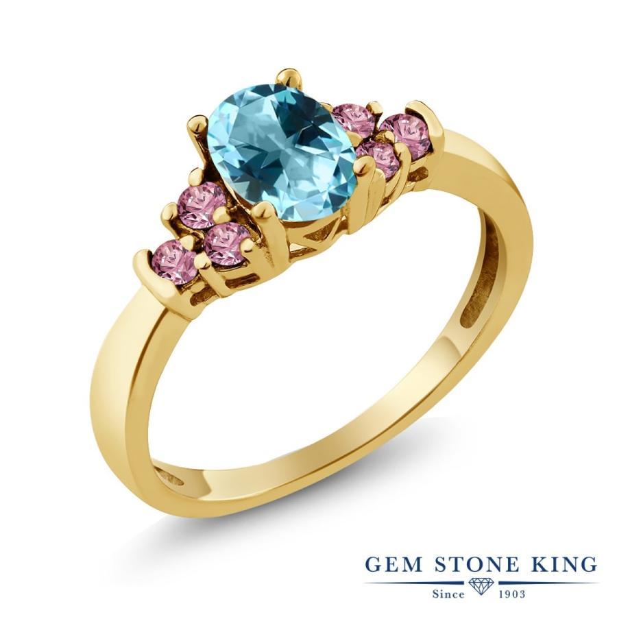 超歓迎 天然石 アイスブルートパーズ (スワロフスキー 天然石) 指輪 レディース リング 合成ピンクダイヤモンド イエローゴールド 加工 プレゼント 女性 嫁, Smart Tap 97867bb8