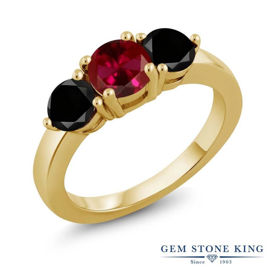 お買い得モデル 合成ルビー 指輪 レディース リング ブラックダイヤモンド イエローゴールド 加工 大粒 プレゼント 女性 嫁 誕生日, サエキグン 19a06547