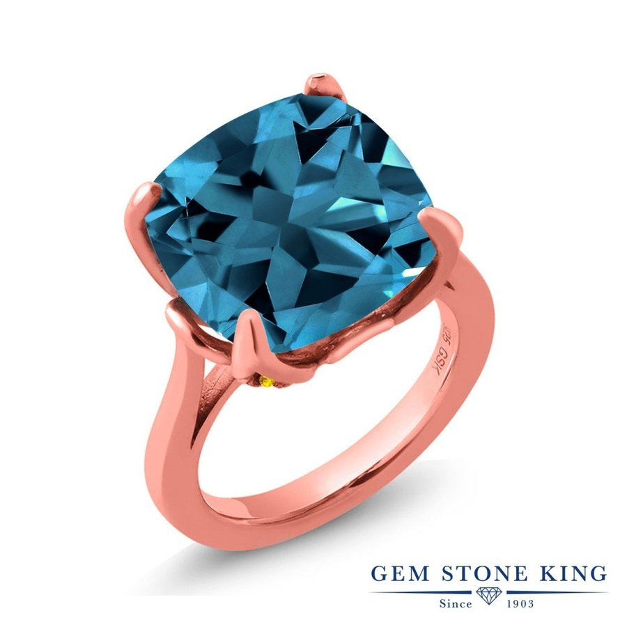 卸し売り購入 天然 ロンドンブルートパーズ 指輪 レディース リング イエローサファイア ピンクゴールド 加工 大粒 天然石 11月 誕生石 プレゼント 女性 嫁 誕生日, スグくる 63001e04