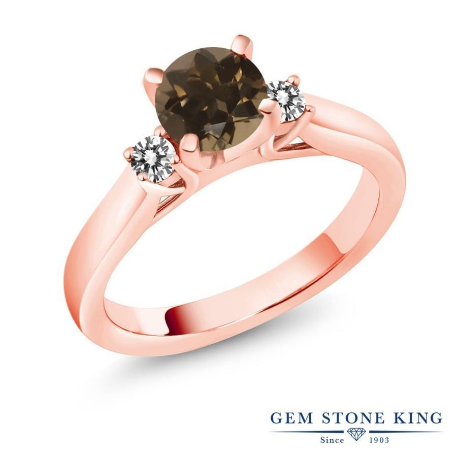 いいスタイル 天然 スモーキークォーツ (ブラウン) 指輪 レディース リング ダイヤモンド ピンクゴールド 加工 天然石 婚約指輪, 福を呼び縁を結ぶ寿製菓 64ba8368