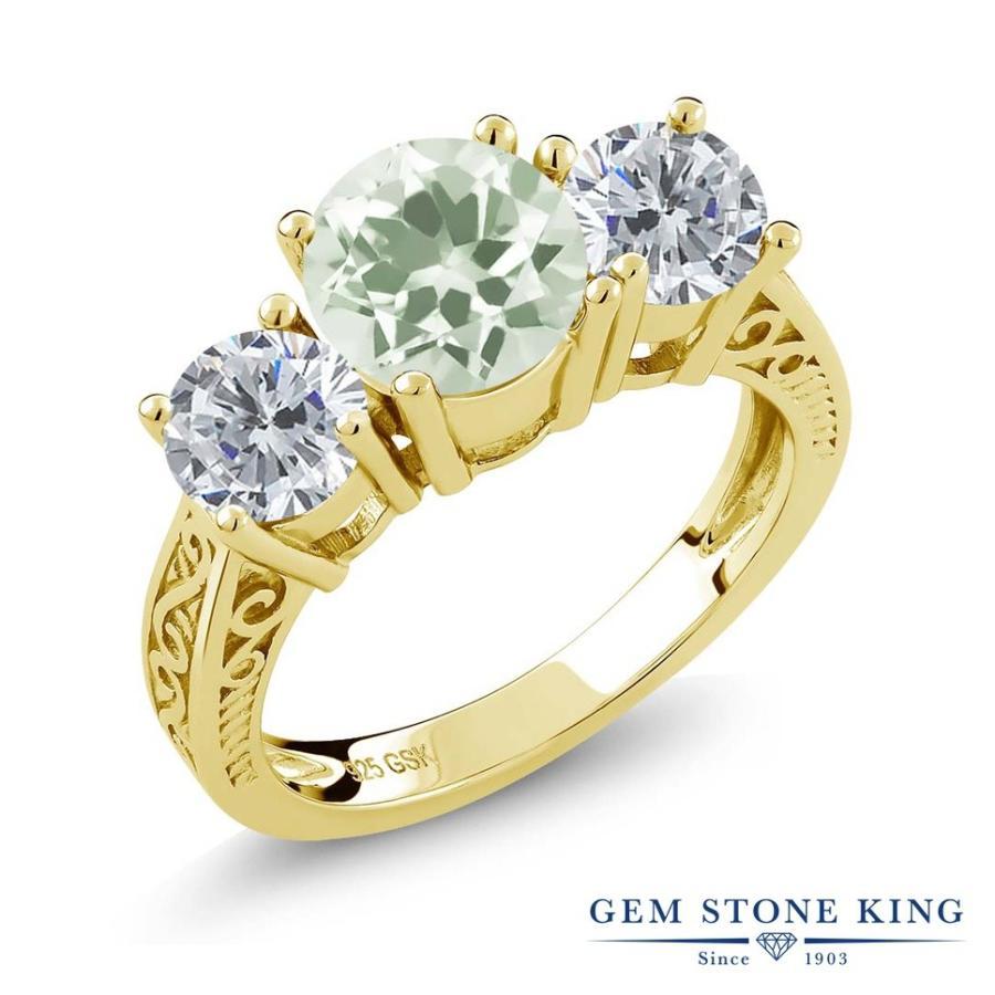 定番  天然 プラジオライト (グリーンアメジスト) 指輪 レディース リング ダイヤモンド イエローゴールド 加工 大粒 天然石 プレゼント 女性 嫁 誕生日, 旅行用品のホリデイホリデイ 43be819f