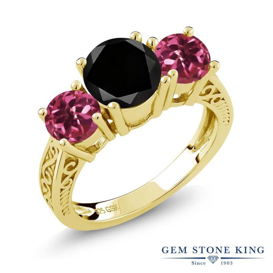 豪華で新しい ブラックダイヤモンド 指輪 レディース リング 天然 ピンクトルマリン イエローゴールド 加工 大粒 天然石 4月 誕生石 プレゼント 女性 嫁 誕生日, 佐井村 a7a8fddc