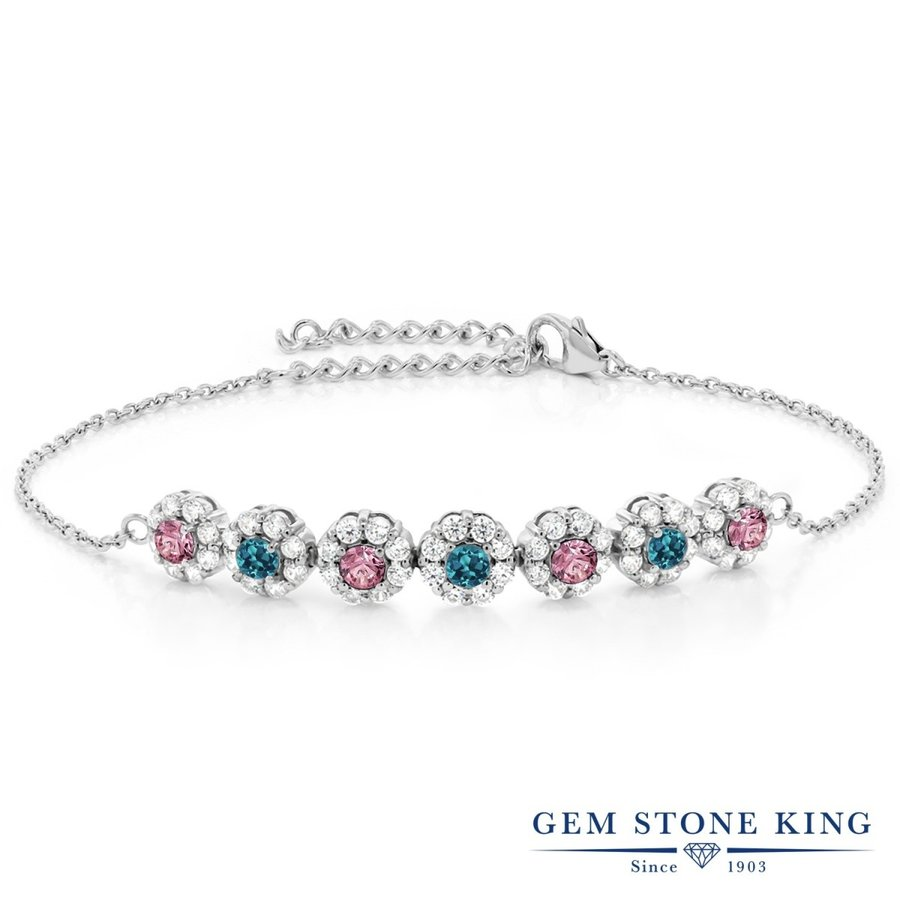 誠実 合成ピンクダイヤモンド ブレスレット レディース 天然 ロンドンブルートパーズ プレゼント 女性 嫁 誕生日, 玉子屋やまたか b33edc9b