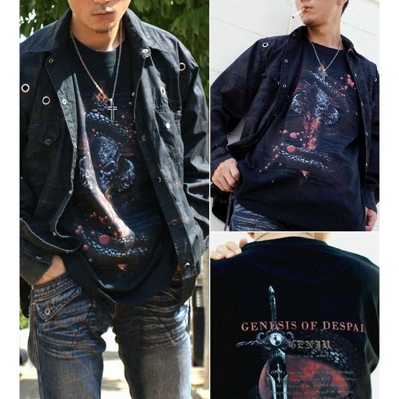 Tシャツ スカル ロック メタル 蛇 十字架|genju|02