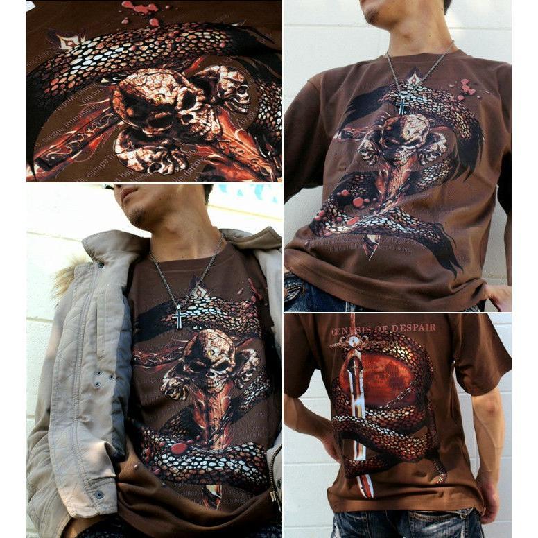 Tシャツ スカル ロック メタル 蛇 十字架|genju|03