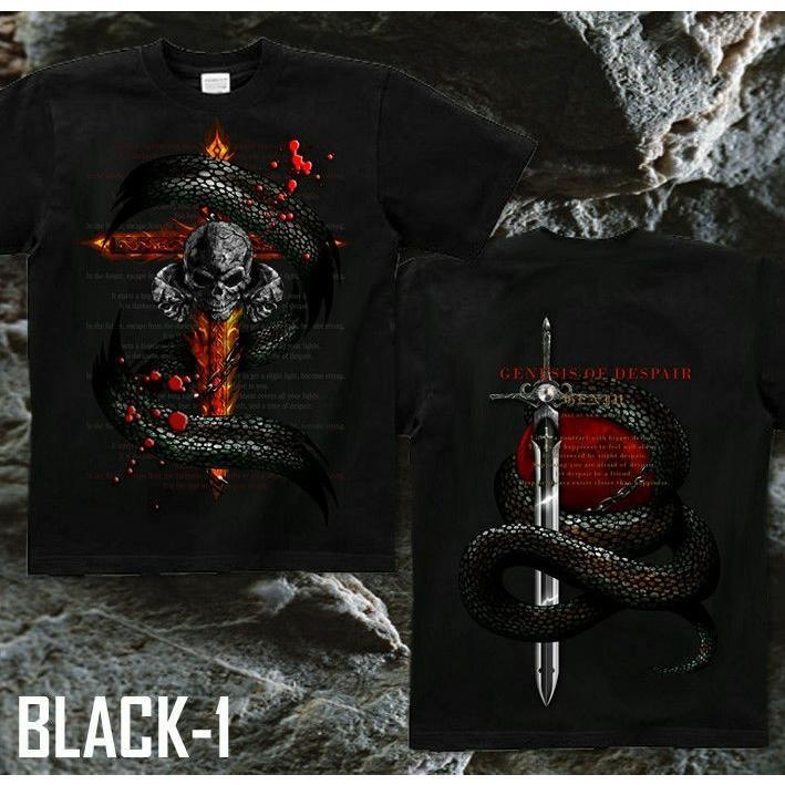 Tシャツ スカル ロック メタル 蛇 十字架|genju|06